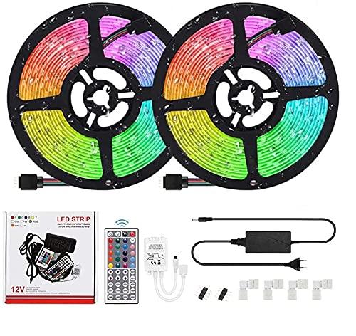 Houkiper Tiras LED 12v , Luces LED RGB 10m con Control Remoto y Caja de Control, 20 Colores y 8 Modos Tiras LED Impermeabile , LED Strip para Decoracion Habitacion Adolescente