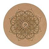 LuMon Yogamatte, Pro Yogamatten, klein, rund, Kork-Gummi, 60 x 60 x 3 mm, rutschfest, Yogakissen,...