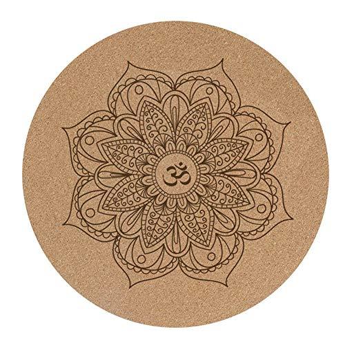 LuMon Yogamatte, Pro Yogamatten, klein, rund, Kork-Gummi, 60 x 60 x 3 mm, rutschfest, Yogakissen, Meditationskissen, Pilates-Pad für Zuhause und draußen.