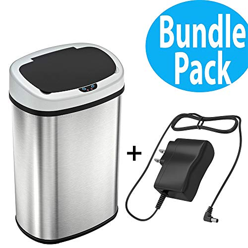 SensorCan 13 Gallon Battery-FREE Automatic Sensor Kitchen Trash Can with AC Power Adapter, Touchless Stainless Steel Garbage Bin