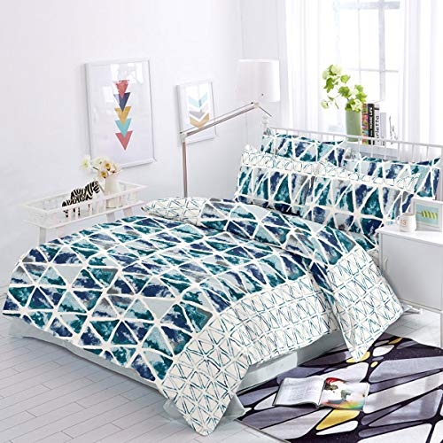 Trance Home Linen Cotton 200 TC Printed Fitted Bed Sheet with 2 Pillow Covers (Queen, 78' x 60' _Aqua White Triangles