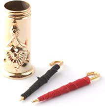 Miniature Solid Brass Umbrella Stand with 2 Umbrellas 1 Black and 1 Red (Dolls House Accessory)