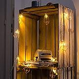 CozyHome Kupfer geometrische LED Lichterkette – 6 Meter | Mit Netzstecker NICHT batterie-betrieben | 20 LEDs warm-weiß | rose gold pyramidenform - kein austauschen der Batterien | Rosegold Deko - 6