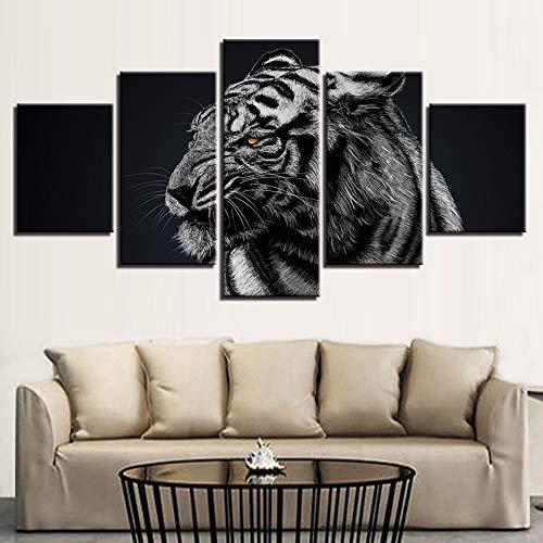 mmwin Moderno Lienzo Fotos HD Impreso Wall Art Work 5 Unidades Bosque Animal Tiger Sala de Estar Decoración del Hogar s Posters