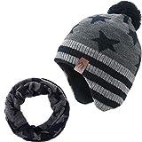 AHAHA Wintermütze Junge and Baby - Fleece-Gefüttertes Ski Beanie Kinder Strick Earflap Schal und Mütze Set