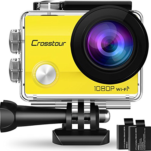 """Crosstour Action Camera Underwater Cam WiFi 1080P Full HD 12MP Waterproof 30m 2"""" LCD 170 Degree Wide-Angle Sports Camera with 2 Rechargeable 1050mAh Batteries and Mounting Accessory Kits (Yellow)"""