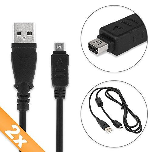 subtel 2X USB Kabel kompatibel mit Olympus OM-D E-M10 E-M1 E-M5 Mark II Pen-F Pen E-PL7 E-PL1 E-420 E-410 E-520 E-510 XZ-1 XZ-2 TG-4 TG-870 TG-Tracker Stylus 1 Micro, Mini 12 Pin Ladekabel Datenkabel