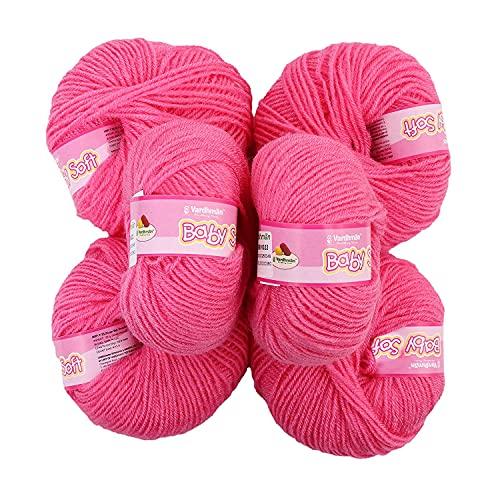 Vardhman Original 4ply Acrylic Knitting Wool/Yarn Dark Gajri Baby Soft Wool Hand Knitting Balls for Art Craft, Sweater, Socks, Gloves, Caps, Super Soft Needle Knitting Yarn Thread (Pack of 6)