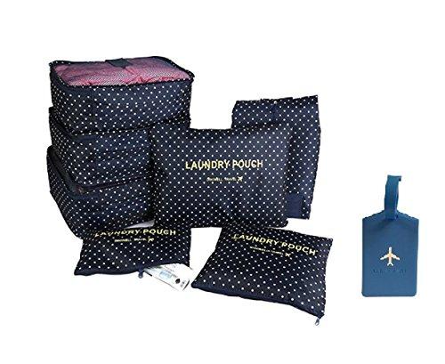 NOVAGO [ Pack of 7 ] Kleidertaschen für die Reisetasche, Schuhbeutel, Wäschebeutel, 7er Set + 1 Gratis Gepäckanhänger (Blau / Punkte)