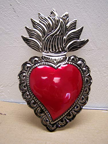 Large Painted Tin Sacred Heart with Wavy Flames 4.25