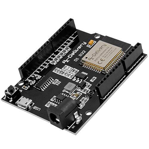 AZDelivery ESP32 NodeMCU D1 R32 Wlan Entwicklungsboard mit CH340G und WiFi + Bluetooth IoT mit Mikro USB kompatibel mit Arduino inklusive E-Book