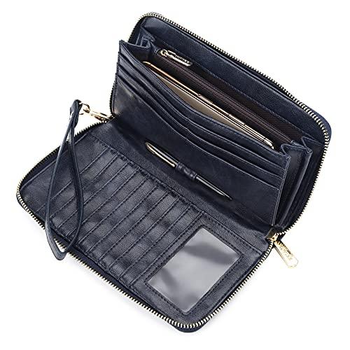 Geldbörse Damen Leder große Kapazität Brieftasche Frau PU-Leder Damen-geldbörse Lang Portmonee Geldbeutel Damen RFID-Schutz Langformat Portemonnaie Damen Vintage weiche Brieftasche (Blue-1 New)