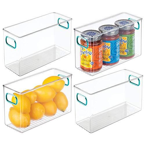mDesign Cajas para nevera con asas – Cajas organizadoras altas para frigorífico, encimera o armarios de cocina – Organizador de cocina ideal para alimentos – Juego de 4 – transparente y azul