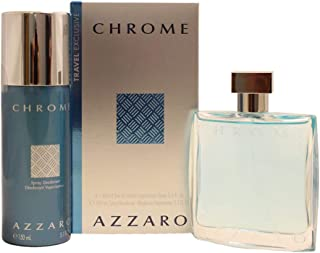 Loris Azzaro Chrome Gift Set (Eau De Toilette Spray 3.4 Oz + Spray Deodorant 5.1 Oz.) for Men, 3.4 Fl Oz