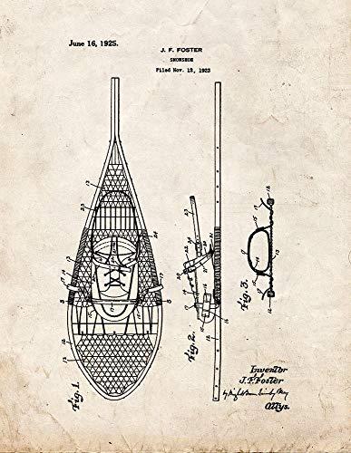 Impresión de patente de raquetas de nieve con aspecto antiguo (33 x 48 cm) M11910