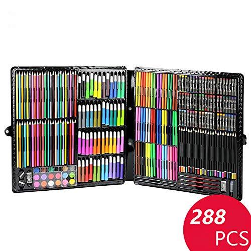LCY Kinder Malutensilien Kinder Kunst Box Malerei Kunstsatz Kinderzeichnung Werkzeugkasten Pinsel Aquarell Schreibset Crayon Kunst 288 PCS Set