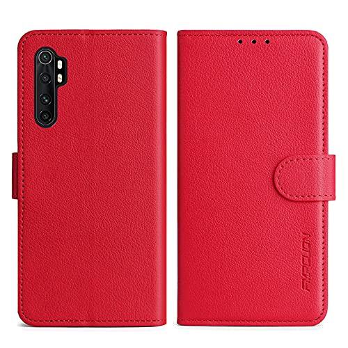 FMPCUON Handyhülle Kompatibel mit Xiaomi Mi Note 10 Lite Hülle Leder PU Leder Tasche,Flip Hülle Lederhülle Handyhülle Etui Handytasche Schutzhülle für Mi Note 10 Lite,Rot