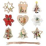 Gativs 3D Decoración del Árbol de Navidad 9 Piezas Colgante de Navidad de Madera Colgantes de Navidad con Diseño Hueco Tallado Adornos Colgantes Ornamento para Decoración de Navidad y Fiesta