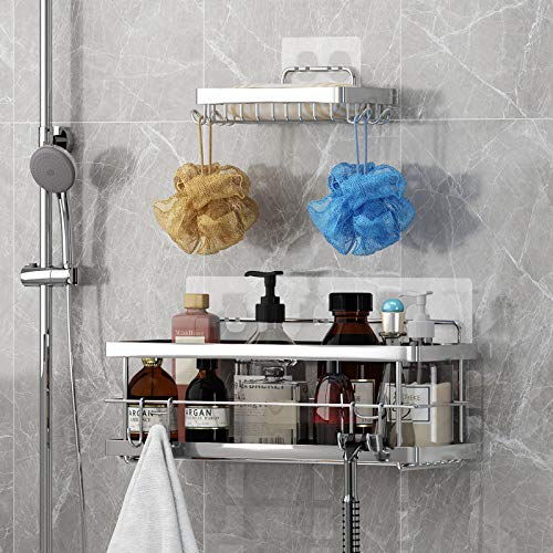 Shower Caddy + Soap Dish with Hooks for Hanging Sponge and Razor, Shower Organizer Shampoo Holder, No Drilling Adhesive Wall Mounted, Rustproof SUS304 Stainless Steel- 2 Pack