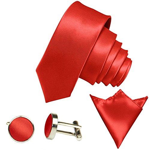 GASSANI GASSANI 3Tlg Krawatten-Set, 6Cm Skinny Schmale Hell-Rote Herren-Krawatte Dünn Manschettenknöpfe Ein-Stecktuch, Bräutigam Hochzeitskrawatte Glänzend