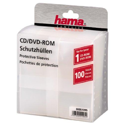 Hama CD-Rom/DVD-Rom/Blu-ray Schutzhüllen (Slim-Design, Sleeve aus Kunststoff, 100 Stück) transparent