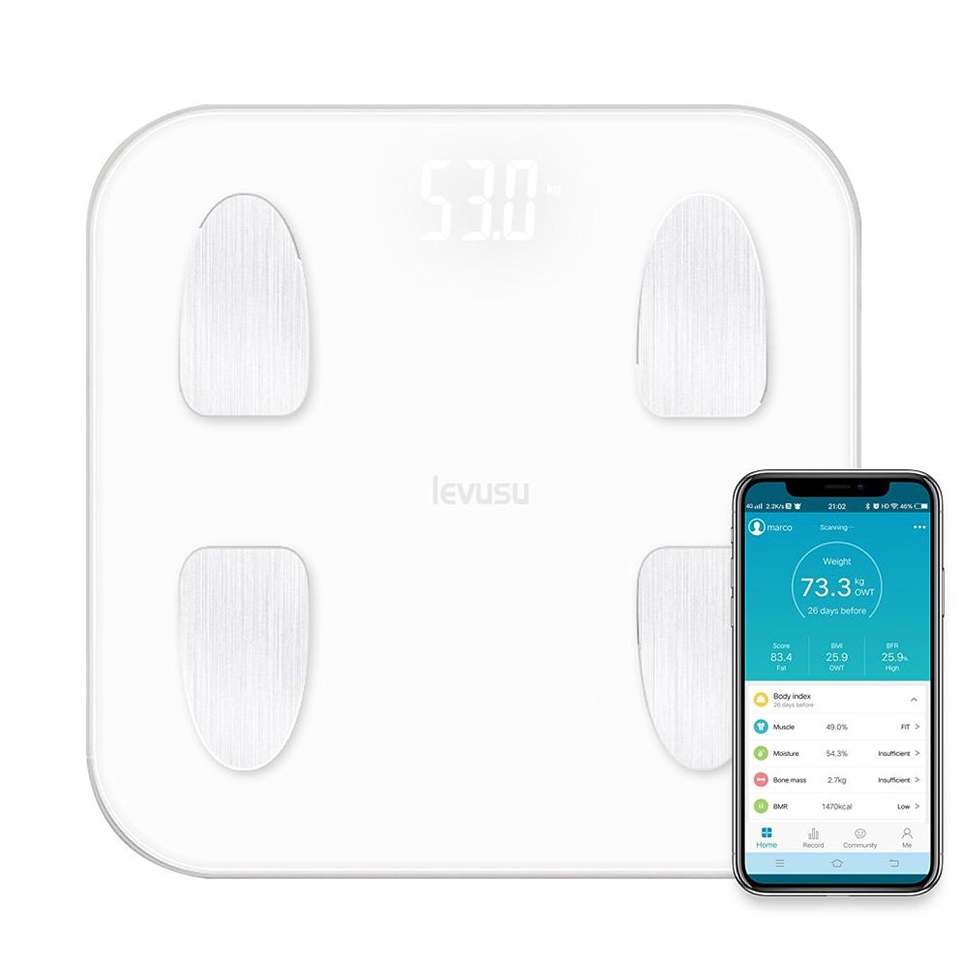 壊す不条理受け継ぐLevusu 180KG 高精度 体重計 体組成計 体脂肪計 スマートスケール ダイエット 体脂肪/体水分/筋肉量/など14つの項目測定 赤ちゃんモート 自動ON/OFF Bluetooth対応 iOS/Android