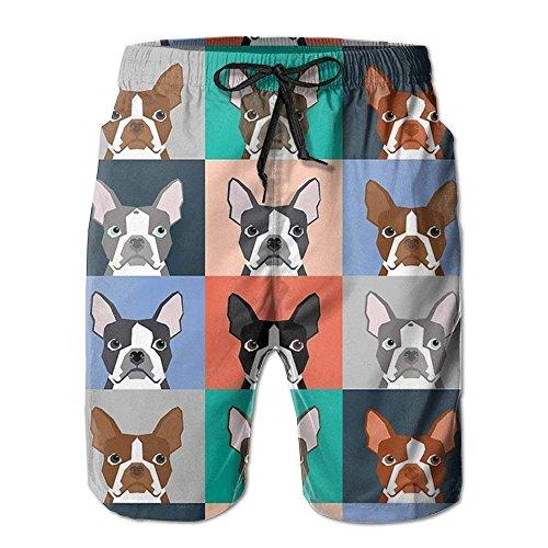 Boston Terriers Tile Bulldaog Pattern Men's Beach Surfing Board Shorts Swim Trunks Pants WhiteSize M