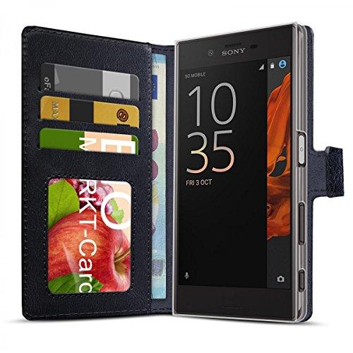 eFabrik Schutztasche für Sony Xperia XZ/Xperia XZs Tasche Smartphone Hülle Hülle mit Aufsteller & Innenfächer Handy-Zubehör Leder-Optik, Farbe:Schwarz
