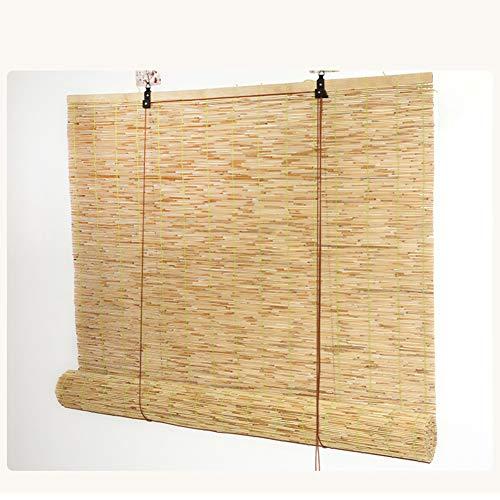 HOMRanger Natürliche Bambusrollo, Schilfrohrmachung, Roll-Up-Schatten, Retro-dekorative Vorhänge, wasserdicht, feuchtigkeitsbeständig, Trennrollo, Bambus, natur, W130xH220cm(51x87inch)
