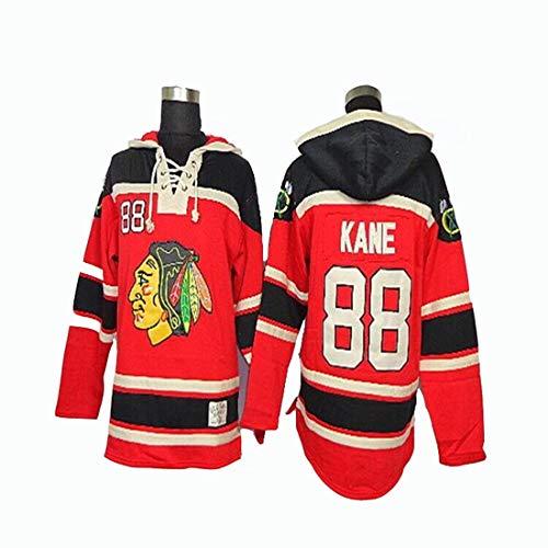 Gmjay NHL Chicago Blackhawks Patrick Kane # 88 Schwarzer Kapuzenpulli Trikot Genähte Buchstaben Zahlen NHL Langarm-T-Shirt,red,L