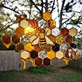 XINDEEK Bumble Bee Honeycomb Sun-Catchers,Queen Bee and Servants Protecting Bumble Bee Hive Decor,Bee Honeycomb Sun-Catchers Farmhouse Home Garden Decorations Party Supplies