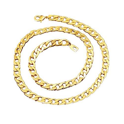 BoomYou Gefälschte Goldkette Halskette 18 Karat Faux Gold überzogen Mens Edelstahl Twist Seil Figaro
