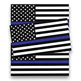 JUSTTOP 5x3 American Flag Patriotic Stars with Thin Blue Line and Reflective Stripes Auto Decal Bumper Sticker(3 PCS)