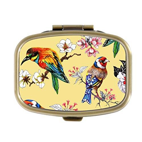 Pill Box - Mooie Heldere Vogels En Bloemen - Decoratieve Pill Case met Geschenkdoos - Pocket Rechthoekige Brons RVS Medicine Tablet Houder Organizer Pill Case voor portemonnee
