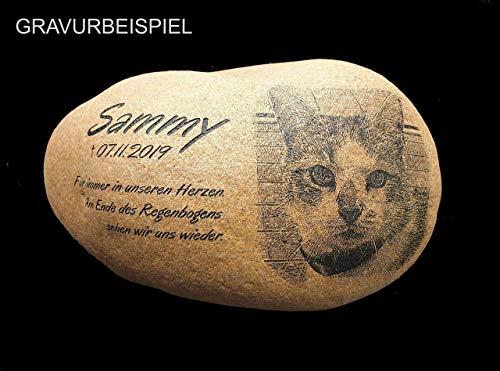 Gedenkstein Katze Foto, Grabstein Tier, Grabschmuck, Gravur Naturstein, Foto Gravur, Stein Gravur Motiv Foto Pfote