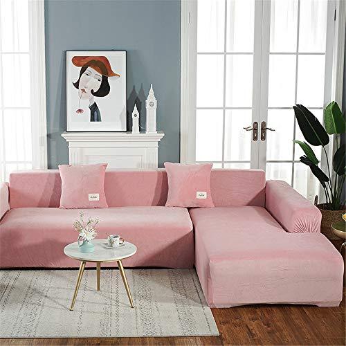 Funda De Sofá De Felpa De Color Sólido Engrosada, Cubierta De Sofá Combinada con Chaise Antideslizante Elástico De Alto Grado