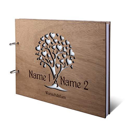 Hochzeit Gästebuch Okoume Holz Gravur individuell Holzcover mit 144 Naturpapier Innenseiten DIN A4 quer 302 x 215 mm - Herzbaum