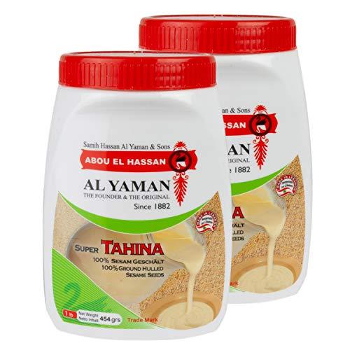 Al Yaman - Tahine Arabische Sesampaste - Orientalische Tahini aus fein gemahlenen Sesamkörnern im 2er Set á 454 g Packung