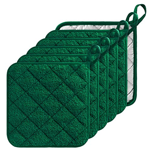 GROBRO7 6Pcs 100% Cotton Quilted Terry Oven Set Pot Holders Heat Resistant Multipurpose 7x7 inches Hot Pads with Hanging Loop Durable Machine Washable Oven Mitts for Kitchen Baking and Cooking Green