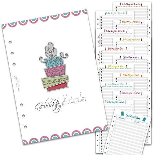 SinnWunder® Kalender-Einlagen - Immerwährender Geburtstags-Kalender, Geburtstags-Planer, Geschenke-Listen - Din A5 - B-DaySinn