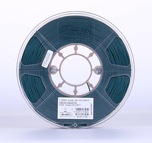 eSUN 1.75mm Elastic TPE 3D Printer Filament 1KG Spool (2.2lbs), Green