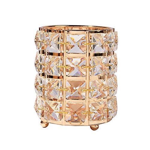 Portalápices herramienta de uñas pluma y cepillo de maquillaje caja de almacenamiento cristal dorado organizador de escritorio decoraciones