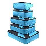 LEMESO Kleidertaschen Set Reise Packtaschen 6-teilig Kofferorganizer Blau