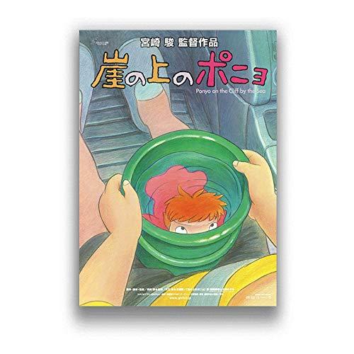 Ponyo över klippan Klassisk tecknad Japan-film Anime-affischer och väggkonsttryck Dekorativ affisch Heminredning 50x70cm (19,68x27,55 in) Q-1210