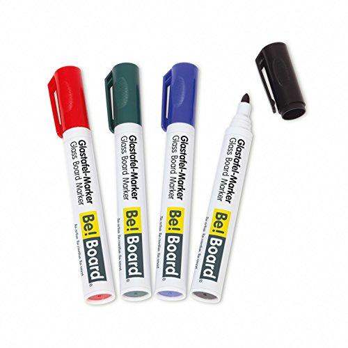 Sigel B3002 Rotuladores de pizarra de cristal / para pizarras magnéticas / para pizarras blancas y flipcharts-portabloc, punta redonda (2-3mm), 4 unidades, colores surtidos (negro, rojo, ver, azul), borrables