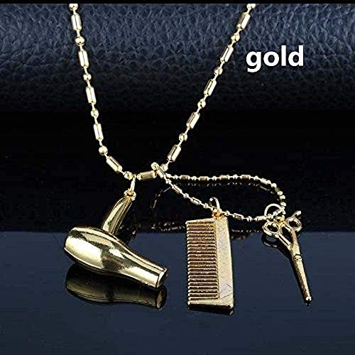 Yiffshunl Collar Barbería Joyería Secador de Pelo/Tijera/Peine Colgantes Collar Accesorio Cuentas Collar de Cadena Colar Peluquería Regalos Regalos