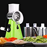Cheese Grater Vegetable Slicer 3 in 1 - Fruit Cutter Machine Rotating Drum with 3 Stainless Steel Revolving Blades YOURLITE (Green)