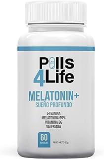 Melatonina 99% Pura, L-Teanina, Vitamina B6 y Valeriana | Mejora la calidad y Fomenta la Conciliación del Sueño | Elimina el insomnio, Estrés, Ansiedad | Efectos duraderos toda la noche | 60 cápsulas.