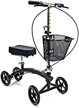 BodyMed Premium Folding Knee Scooter with Dual Braking System and Basket - Great Alternative to Crutches - Broken Leg Walker - Steerable Mobility Device for Foot Or Ankle Injury