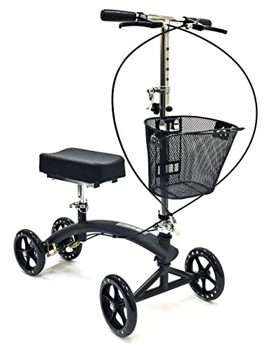 BodyMed Folding Knee Scooter with Dual Braking System and Basket - Great Alternative to Crutches - Injured Ankle & Foot Walker - Steerable Mobility Device for Foot Or Ankle Injury